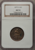 Seated Quarters: , 1875-S 25C AU53 NGC. NGC Census: (3/67). PCGS Population (3/57).Mintage: 680,000. Numismedia Wsl. Price for problem free N...