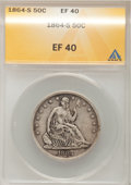 Seated Half Dollars: , 1864-S 50C XF40 ANACS. NGC Census: (4/30). PCGS Population (6/36).Mintage: 658,000. Numismedia Wsl. Price for problem free...