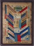 Baseball Collectibles:Others, 19th Century Baseball Silk Ribbons Display of 62....