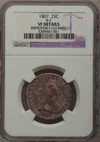 1807 25C --Improperly Cleaned--NGC Details. VF. B-2. NGC Census: (5/92). PCGS Population (22/120). Mintage: 220,643. Num...