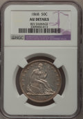 Seated Half Dollars: , 1868 50C --Rev Damage--NGC Details. AU. NGC Census: (1/25). PCGSPopulation (9/38). Mintage: 417,600. Numismedia Wsl. Price ...