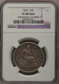 Seated Half Dollars: , 1852 50C --Improperly Cleaned--NGC Details. VF. NGC Census: (0/60).PCGS Population (0/75). Mintage: 77,130. Numismedia Wsl....