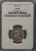 Seated Quarters: , 1865 25C AU58 NGC. NGC Census: (8/14). PCGS Population (7/20).Mintage: 58,800. Numismedia Wsl. Price for problem free NGC/...