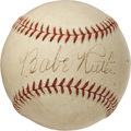 Autographs:Baseballs, 1930's Babe Ruth Single Signed Baseball, PSA EX-MT 6....