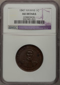 Coins of Hawaii, 1847 1C Hawaii Cent--Corrosion--NGC Details. AU. NGC Census:(6/169). PCGS Population (25/282). Mintage: 100,000. (#10965)...