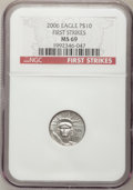 Modern Bullion Coins, 2006 $10 Tenth-Ounce Platinum MS69 NGC. First Strikes. PCGSPopulation (1495/115). (#821116)...