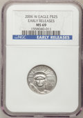 Modern Bullion Coins, 2006-W $25 Quarter-Ounce Platinum MS69 NGC. Early Releases. PCGSPopulation (209/104). (#21126)...