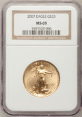 Modern Bullion Coins, 2007 $25 Half-Ounce Gold Eagle MS69 NGC. PCGS Population (87/14).Numismedia Wsl. Price for problem fre...
