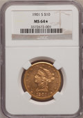 Liberty Eagles, 1901-S $10 MS64 ★ NGC. NGC Census: (3581/1479). PCGS Population(3248/1028). Mintage: 2,81...