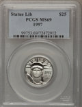 Modern Bullion Coins: , 1997 P$25 Quarter-Ounce Platinum Eagle MS69 PCGS. PCGS Population(1056/1). NGC Census: (600/49). Mintage: 27,100. Numismed...