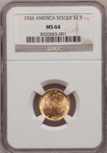 Commemorative Gold: , 1926 $2 1/2 Sesquicentennial MS64 NGC. NGC Census: (2539/1053).PCGS Population (4092/1894). Mintage: 46,019. Numismedia Ws...