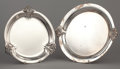 Silver Holloware, American:Trays, TWO ROUND AMERICAN SILVER TRAYS . International Silver Co., Meridan, Connecticut, circa 1939. Marks: ROYAL DANISH, U.S.A.,... (Total: 2 Items Items)