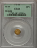 California Fractional Gold: , 1881 25C Indian Round 25 Cents, BG-887, R.3, MS64 PCGS. PCGSPopulation (64/34). NGC Census: (9/11). (#10748)...