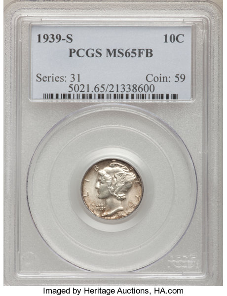 1939-S 10C MS65 Full Bands PCGS  PCGS Population (119/126)  | Lot