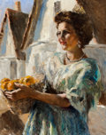 Mainstream Illustration, PAL FRIED (Hungarian/American, 1893-1976). Woman withOranges. Oil on canvas. 30.5 x 24 in.. Signed lower left. ...