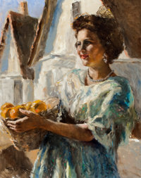 PAL FRIED (Hungarian/American, 1893-1976) Woman with Oranges Oil on canvas 30.5 x 24 in. Signe