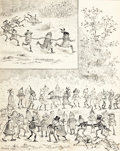 Works on Paper, PALMER COX (Canadian, 1840-1924). Brownies Halloween, book illustration. Ink on paper laid on board. 10 x 8 in.. Signed ...