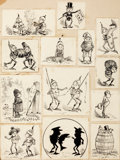 Mainstream Illustration, PALMER COX (Canadian, 1840-1924). Brownies, group of 13 bookillustrations. Ink on paper laid on board. 2.5 x 2.5 in.. N...