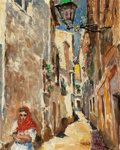 Mainstream Illustration, PAL FRIED (Hungarian/American, 1893-1976). European Street.Oil on canvas. 30 x 24 in.. Signed lower right. ...