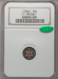 Proof Three Cent Silver, 1866 3CS PR66 NGC. CAC....