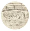 Works on Paper, PALMER COX (Canadian, 1840-1924). Brownies, book illustration. Ink on paper laid on board. 8.25 in. diameter. ...