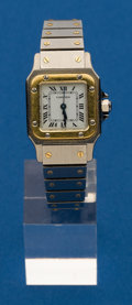 Timepieces:Wristwatch, Cartier, Lady's Two Tone Santos. ...