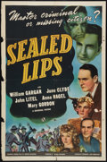 "Movie Posters:Film Noir, Sealed Lips (Universal, 1941). One Sheet (27"" X 41""). Film Noir....."