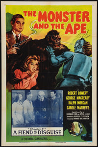 "The Monster and the Ape (Columbia, R-1956). One Sheet (27"" X 41"") Chapter 6 -- ""A Fiend in Disguise.""..."