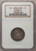Seated Quarters: , 1842 25C Large Date AU55 NGC. NGC Census: (8/20). PCGS Population(3/14). Mintage: 88,000. Numismedia Wsl. Price for proble...