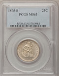 Seated Quarters: , 1875-S 25C MS63 PCGS. PCGS Population (12/28). NGC Census: (9/26).Mintage: 680,000. Numismedia Wsl. Price for problem free...