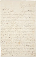 """Autographs:Military Figures, [John """"Rip"""" Ford] Confederate Spy Autograph Letter Signed """"J. J. Potts"""" to Confederate Colonel Ford. One and one-third p..."""