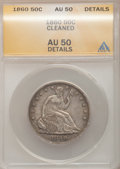 Seated Half Dollars: , 1860 50C --Cleaned--ANACS. AU50 Details. NGC Census: (5/48). PCGSPopulation (12/74). Mintage: 302,700. Numismedia Wsl. Pric...