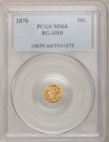 California Fractional Gold: , 1870 50C Liberty Round 50 Cents, BG-1010, R.3, MS64 PCGS. PCGSPopulation (41/19). NGC Census: (6/2). (#10839)...