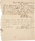 """Miscellaneous:Ephemera, Mexican War Receipt for Provisions. One page, 8"""" x 9"""", """"CampBlackborn, Gonzales County"""", May 29, 1846. This is a receip..."""