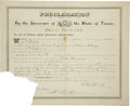 "Autographs:Statesmen, Oran M. Roberts Document Signed ""O. M. Roberts"" as governorof Texas promising a reward of $300 for ""the arrest andre..."