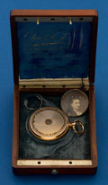 Timepieces:Pocket (pre 1900) , Charles Jacot, Swiss, 18k & Enamel, 43 mm, Hunters Case, KeyWind with Box. ...