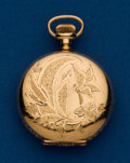 Timepieces:Pocket (pre 1900) , Hampden, 3/0 Size, Gold Filled, Hunters Case. ...