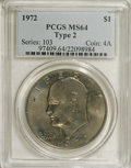 Eisenhower Dollars: , 1972 $1 Type Two MS64 PCGS. This grand dollar is lustrous beneath grades of olive, mauve, and blue patina. Well-defined ove...