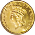 Gold Dollars: , 1882 G$1 MS65 PCGS. Sharply struck with watery reflectivity notedin the prooflike fields, and attractive light toning on b...