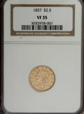 Classic Quarter Eagles: , 1837 $2 1/2 VF35 NGC. McCloskey-B, R.3. A subtly radiant Choice VF example of this variety, the most common for its issue, ...