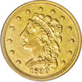 Classic Quarter Eagles: , 1839 $2 1/2 AU50 PCGS. Just one die variety is known for the 1839Classic Head quarter eagles, and it has sometimes been ca...