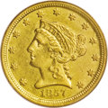 Liberty Quarter Eagles: , 1857-D $2 1/2 AU55 PCGS. Variety 20-M. The 1857-D has a frugalemission of 2,364 pieces, and judging from third party popul...