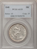Seated Half Dollars: , 1848 50C AU53 PCGS. PCGS Population (4/42). NGC Census: (2/44).Mintage: 580,000. Numismedia Wsl. Price for problem free NG...