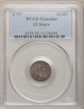 Early Half Dimes, 1797 H10C 15 Stars PCGS Genuine. V-2, LM-1, R.3....