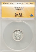 Barber Dimes: , 1904-S 10C --Cleaned--ANACS. AU53 Details. NGC Census: (2/57). PCGSPopulation (5/85). Mintage: 800,000. Numismedia Wsl. Pri...