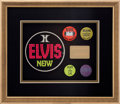 Music Memorabilia:Memorabilia, Elvis Presley Vintage TCB Gold ID Card and Las Vegas ButtonsDisplay....