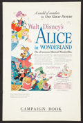 "Movie Posters:Animation, Alice in Wonderland (RKO, 1951). Pressbook (Multiple Pages, 12"" X18""). Animation.. ..."