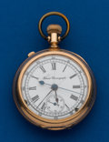 Timepieces:Pocket (pre 1900) , Agassiz, 17 Size, Gold Filled, Chronograph. ...