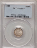 Seated Half Dimes: , 1842 H10C MS64 PCGS. PCGS Population (39/12). NGC Census: (45/25).Mintage: 815,000. Numismedia Wsl. Price for problem free...