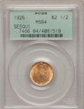 Commemorative Gold: , 1926 $2 1/2 Sesquicentennial MS64 PCGS. PCGS Population(4079/1886). NGC Census: (2533/1034). Mintage: 46,019. NumismediaW...